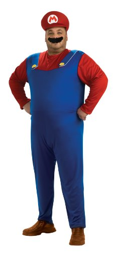 [Super Mario Brothers Mario Costume, Blue, Plus] (Nintendo Costumes For Adults)
