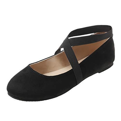 TIFENNY Leisure Fashion New Shoe Women's Flat Ballet Dance Yoga Shoes Round-Toe Cross Strap Soft Bottom Beach Shoes Black
