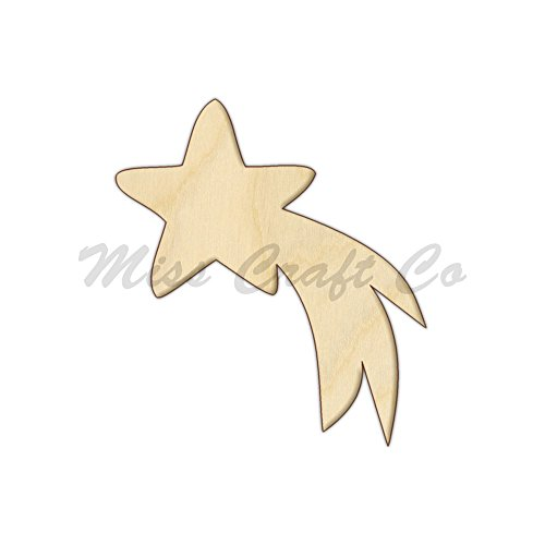 (Shooting Star Wood Shape Cutout, Wood Craft Shape, Unfinished Wood, DIY Project. All Sizes Available, Small to Big. Made in the USA. 8 X 7.1 INCHES)