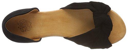 Apple of Eden Women's Chelsea Open Toe Sandals, Beige (Nude) Black (Black 1)