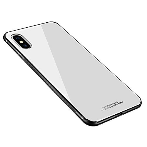 "HONTECH Compatible iPhone Xs Max 2018 6.5"" Case, Slim Fit Silicone Shockproof Tempered Glass Mirror Back Bumper Cover Shell, White"