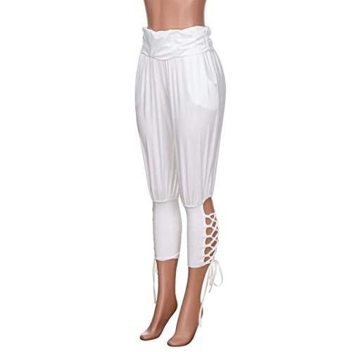 Elastico Bianca Donne Alta Sportwear In Solid Pantaloni A Classiche Leggings Con Stringate Yoga Vita Lacci Casual Tasche ZxOUnqAa