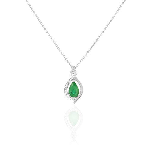 HISTOIRE D'OR - Collier Or et Emeraude - Femme - Or blanc 375/1000