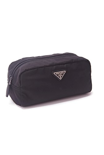 Tessuto Black Messenger Bag - Prada Unisex Toiletry and Cosmetics Travel Zippered Pouch Case Bag in Tessuto Nylon and Saffiano Leather