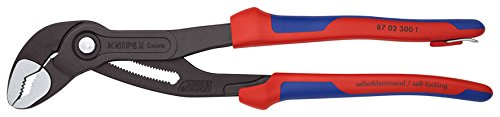 87 02 300 T BK Water Pump Pliers ''Cobra'' 11, 81'' with Soft Handle & Tether Attachment Pt. In Blister Packaging
