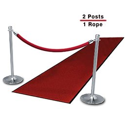 Chrome Posts (2-Pack with 1 Red Velvet Rope) by Lavi Industries