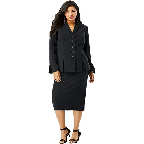 (Roamans Women's Plus Size Two-Piece Skirt Suit with Shawl-Collar Jacket - Black, 14 W)