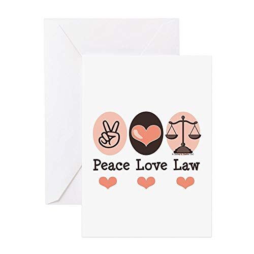 CafePress Peace Love Law School Lawyer Greeting Card, Note Card, Birthday Card, Blank Inside Glossy (All The Best Greeting Cards For Exams)