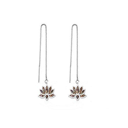 NOUMANDA Gold Silver Plated Charm Abalone Lotus Flower Earring Threader Earline Ear Jewelry ()