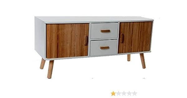 139287 Mueble/Mesa TV en blanco y madera de bambú, estilo nórdico ...