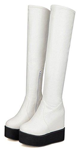 Heighten White Womens Over Long Zipper Platform Fashion High Booties Boots IDIFU Heels Side High Knee FqwXBxv6d