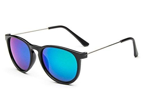 Iridium Lens Unisex Sunglasses - Flowertree Unisex Kid S2276 Iridium Coated Lens Round Wayfarer 47mm Sunglasses (black+green)