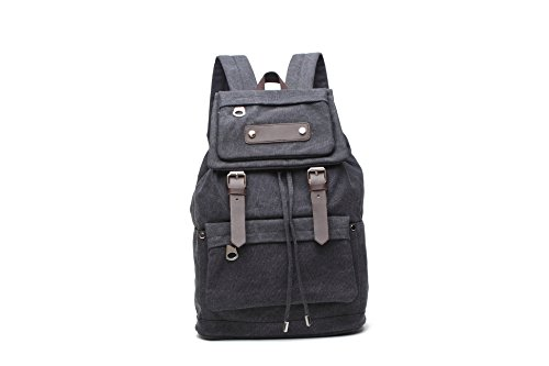 Tincon-z Canvas Backpack Vintage Rucksack Casual Leather Army Hiking Camping Satchel Hiking Bag Bookbag (black) For Sale