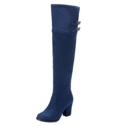 Long Knee Boots Boots and Over Large Chunky Blue Heel Women with Women The SJJH with Pointed High Toe O5g6xq5Hn