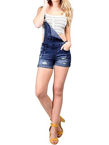- Instar Mode Women's Cute Back Cross Denim Juniors Short Overall Dark Denim M
