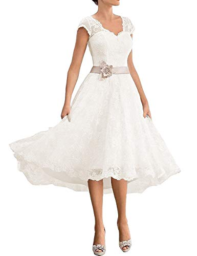 Cdress Short Wedding Dresses Lace Appliques Bridal Gowns Plus Size for Bride V-Neck Cap Sleeves with Belt US 4 Ivory