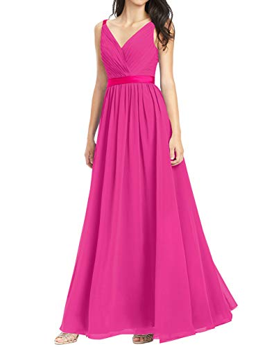 Cdress V-Neck Chiffon Bridesmaid Dresses Long Prom Evening Dress Wedding Party Formal Gowns Sleeveless US 28W Fuchsia