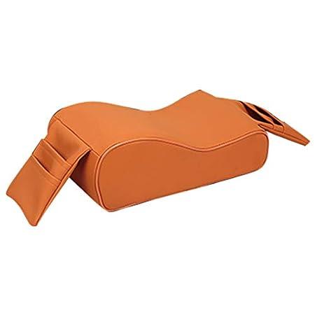 Semoic Autom/óvil Amortiguador para El Carro Reposabrazos Transpirable Espuma De Memoria Reposabrazos para El Autom/óvil con Soporte para Tel/éfono Bolsa De Almacenamiento Naranja