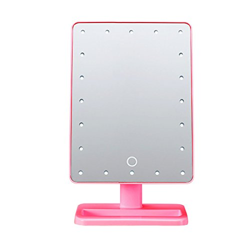 Price comparison product image UNIQUEBELLA Pink 20 LEDs Makeup Mirror with Lights Touching Screen Portable Angle Adjustable Desktop Mirror