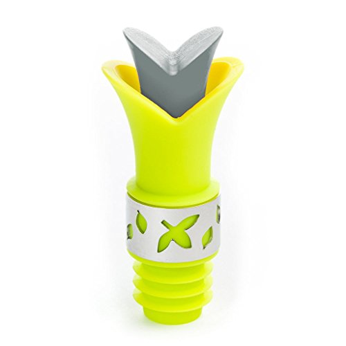 - Flower Wine Bottle Stopper - Tulip Shaped Silicone Wine Stopper and Pourer - Lime