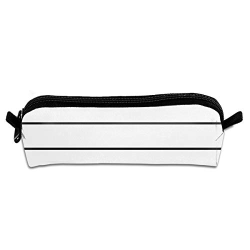 Earth Skinny Stripe - Lcokin Customized Skinny Stripe ((Black On White)) Pencil Bag, Personalized Canvas Zipper Cosmetic Bag