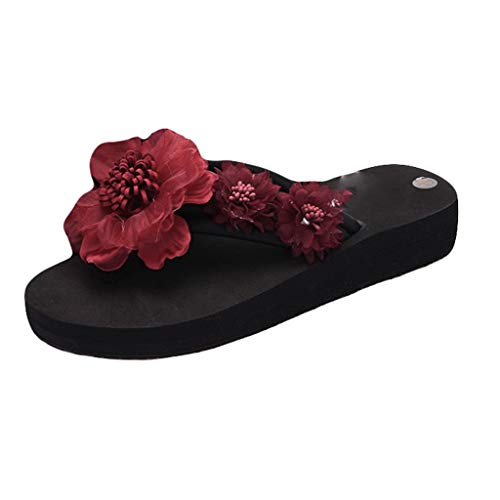 Benficial Fashion Flip- Flop Women Slip-on Open Toe Flower Wedges Color Slipper Shoes Wine