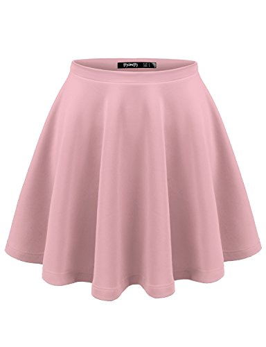 TWINTH Womens Versatile Stretchy Pleated Flare Skater Skirt Peach L
