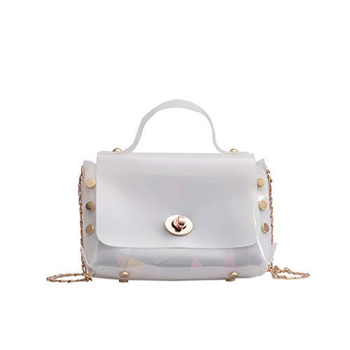 Leaf2you Women's Iridescent Holographic Rivet Studded Flap Transparent Handle Handbag Shoulder Tote Bag Chain Bags Laser Bag Satchel