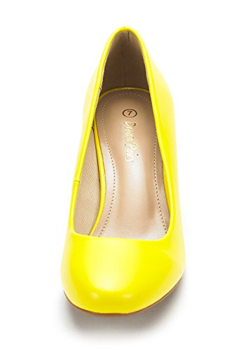 DREAM PAIRS LUVLY Womens Bridal Wedding Party Low Heel Pump Shoes Luvly-yellow Pu T765OcLWn2