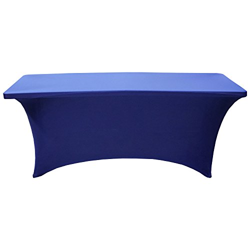 Off the Rail Spandex Table Cover - Rectangular Stretch Tablecloth - 6 Feet (Royal Blue)