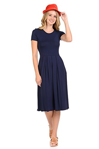 Banded Waist Dress - iconic luxe Women's Short Sleeve Pleated Midi Dress with Pockets Small Navy
