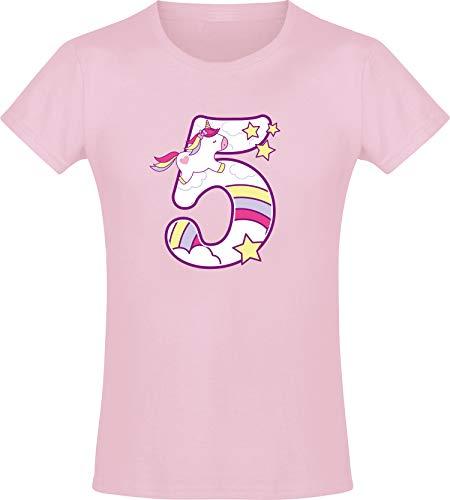 Meisjes-T-shirt voor verjaardag, eenhoorn, 5 jaar, eenhoorn, vijfvijfde verjaardag, kind, cadeau-idee pony, paard, roze…