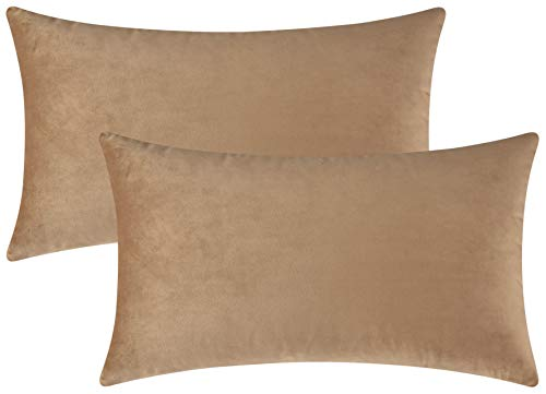 (Mixhug Set of 2 Cozy Velvet Rectangle Decorative Throw Pillow Covers for Couch and Bed, Tan, 12 x 20 Inches)