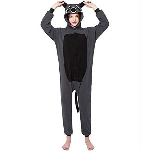 Animale Unisex HSTV Grigio Procione Cosplay Da Adulto Notte Pigiama Biancheria Kigurumi S Costume OIn1gS