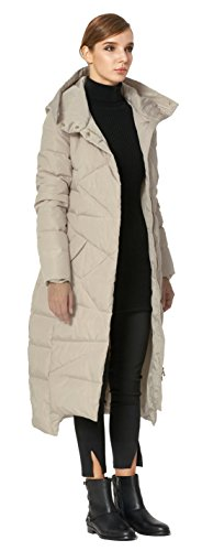Orolay Women's Puffer Down Coat Winter Maxi Jacket with Hood Beige XS by Orolay (Image #4)