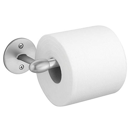 mDesign Modern Metal Toilet Tissue Paper Roll Holder and Dispenser for Bathroom Storage - Wall Mount, Holds and Dispenses One Roll, Mounting Hardware Included - Chrome