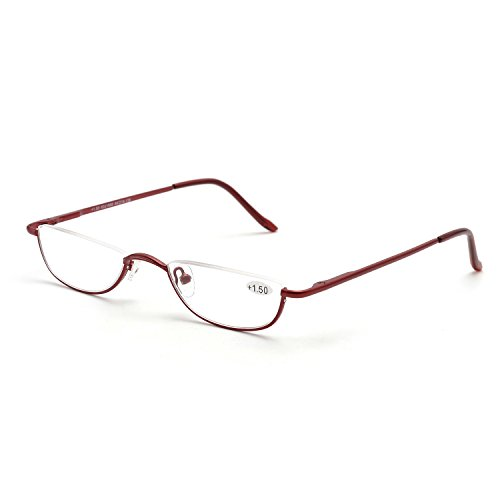 (ZUVGEES Vintage Alloy Semi Rimless Reading Glasses Men Women Half Frame Slim Glasses with Stylish Case (Red, 1.50))