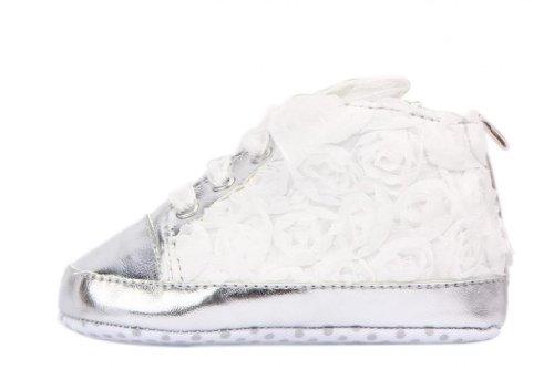 Bigood Infant Baby Non-Slip Lace Rose Shoes Walking Prewalker 12-18 Months White