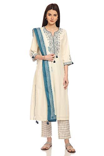 BIBA Off White Straight Cotton Suit Set Size - Cotton Suit Salwar