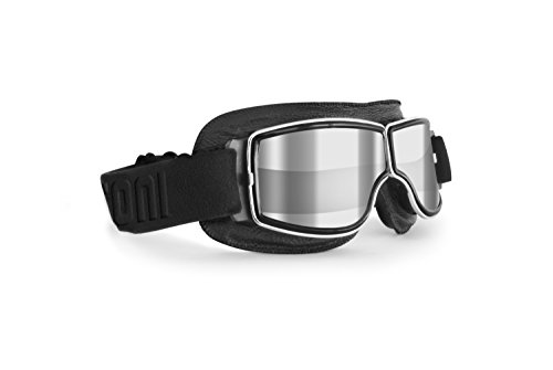 Motorcycle Riding Goggles - Black Leather with Chrome Frame - Anticrash Lens -Special ventilation - by Bertoni Italy AF188A Clear Silver Mirror Lens - Motorbike Vintage Aviator Glasses