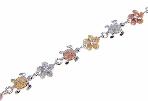 Arthur's Jewelry 925 Sterling Silver Tricolor Rose Yellow Gold Plated Hawaiian cz Plumeria Flower sea Turtle Honu Anklet 9 1/2