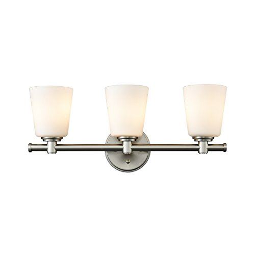 AXILAND Vanity Lighting Wall Sconce 3-Light Fixture with Opal Glass Shade Brushed Nickel by AXILAND