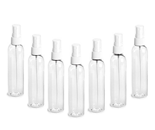 Clear PET Cosmo Plastic Bottle (PBA Free) 4 Oz w/ White Fine Mist Spray Atomizer (3 Bottle Pack) by Grand Parfums