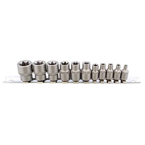 (ABN® | Female E Torx Socket Set – 11 Piece Star Socket Set and Storage Rail, CR-V Torx Bit Socket Set Torx Tool Set)