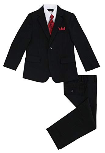 (Luca Gabriel Toddler Boys' 5 Piece Pinstripe Suit Handkerchief Set - Size 6 Black)