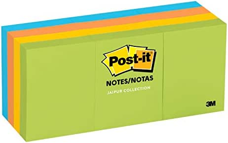 Post-it Notes, America's #1 Favorite Sticky Note, 1 3/8 in x 1 7/8 in, Jaipur Collection, 12 Pads/Pack, 100 Sheets/Pad (653-AU)