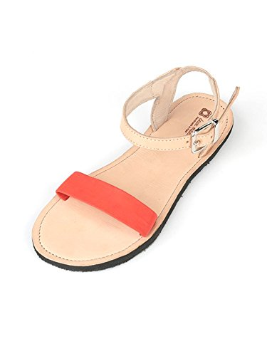 Deux Mains Ontwerpt Womens Bel Nanm Leather Sandal Road Rage Red
