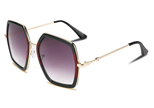 FEISEDY Geometric Women Sunglasses Fashion Ladies Irregular Large Hexagon Inspired Designer Style B2503