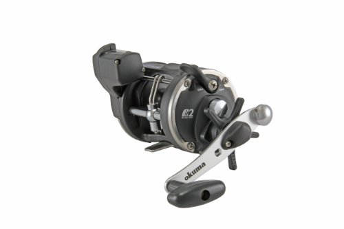 Okuma Magda Pro Line Counter Levelwind Trolling Reel, Small, Black/Silver, MA-20DLX, Outdoor Stuffs