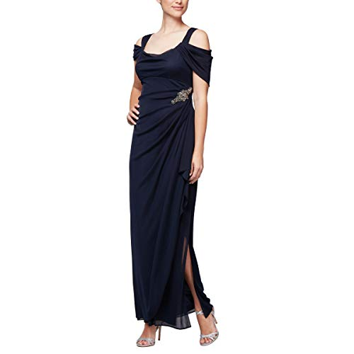 Alex Evenings Women's Long Cold Shoulder Dress (Petite and Regular Sizes), Navy Decal, 10P (Mother Of The Bride Cold Shoulder Dress)